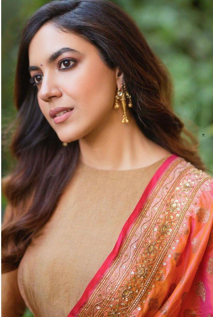 Ritu Varma in peanut anarkali by Geethika Kanumili for Tuck jagadish promotions-4