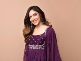Ritu Varma in purple anarkali gown by Mrunalini rao for Tuck Jagadish promotions-1