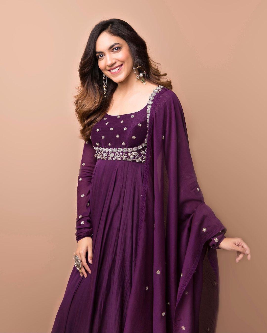Ritu Varma in purple anarkali gown by Mrunalini rao for Tuck Jagadish promotions-1