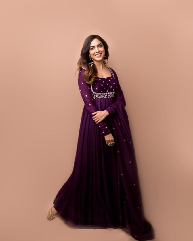 Ritu Varma in purple anarkali gown by Mrunalini rao for Tuck Jagadish promotions