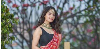 Ruhani Sharma in red Bhargavi Kunam saree for Youa nd I magazine photoshoot-1