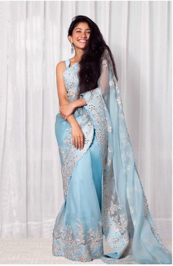 Sai pallavi in sky blue mrunalini rao saree for love story promotions