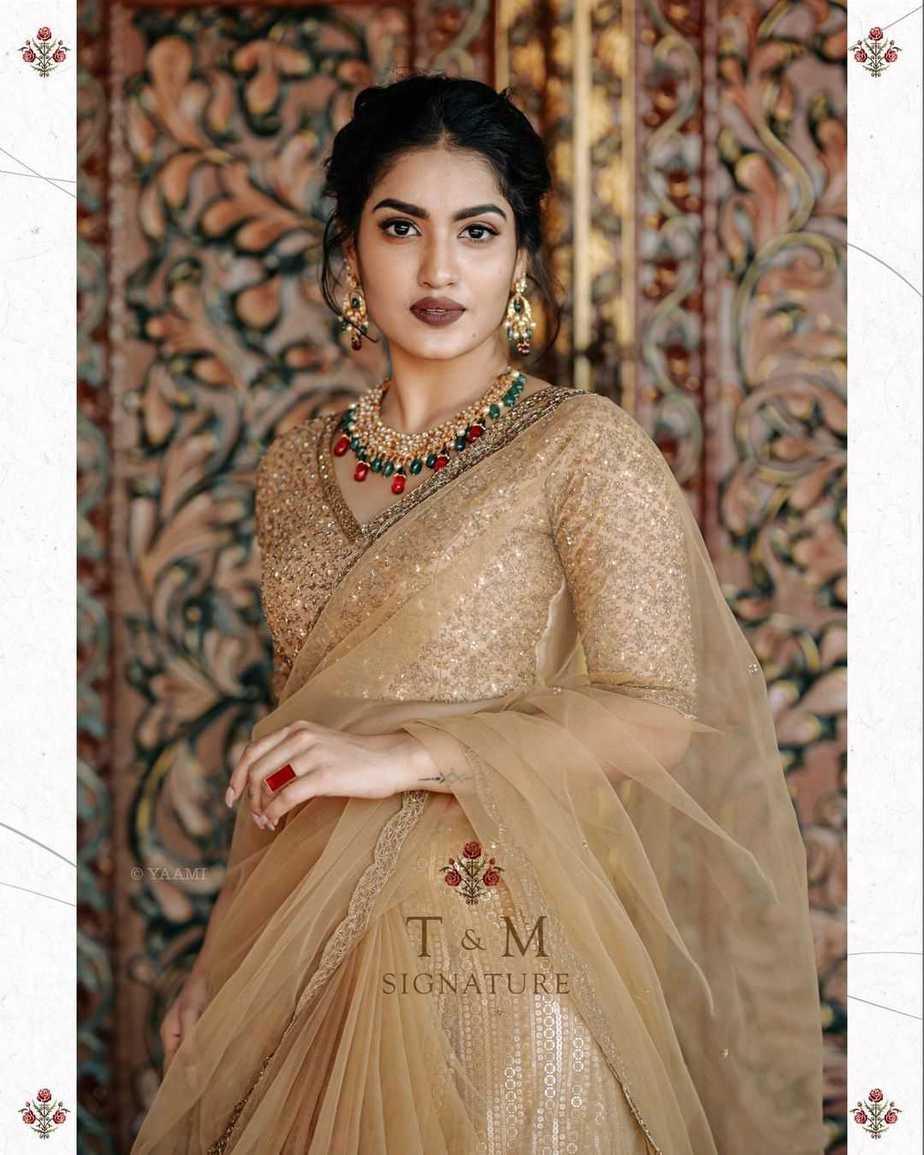 Saniya Iyappanin champagne gold T&M signature saree-2