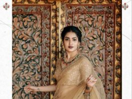 Saniya Iyappanin champagne gold T&M signature saree