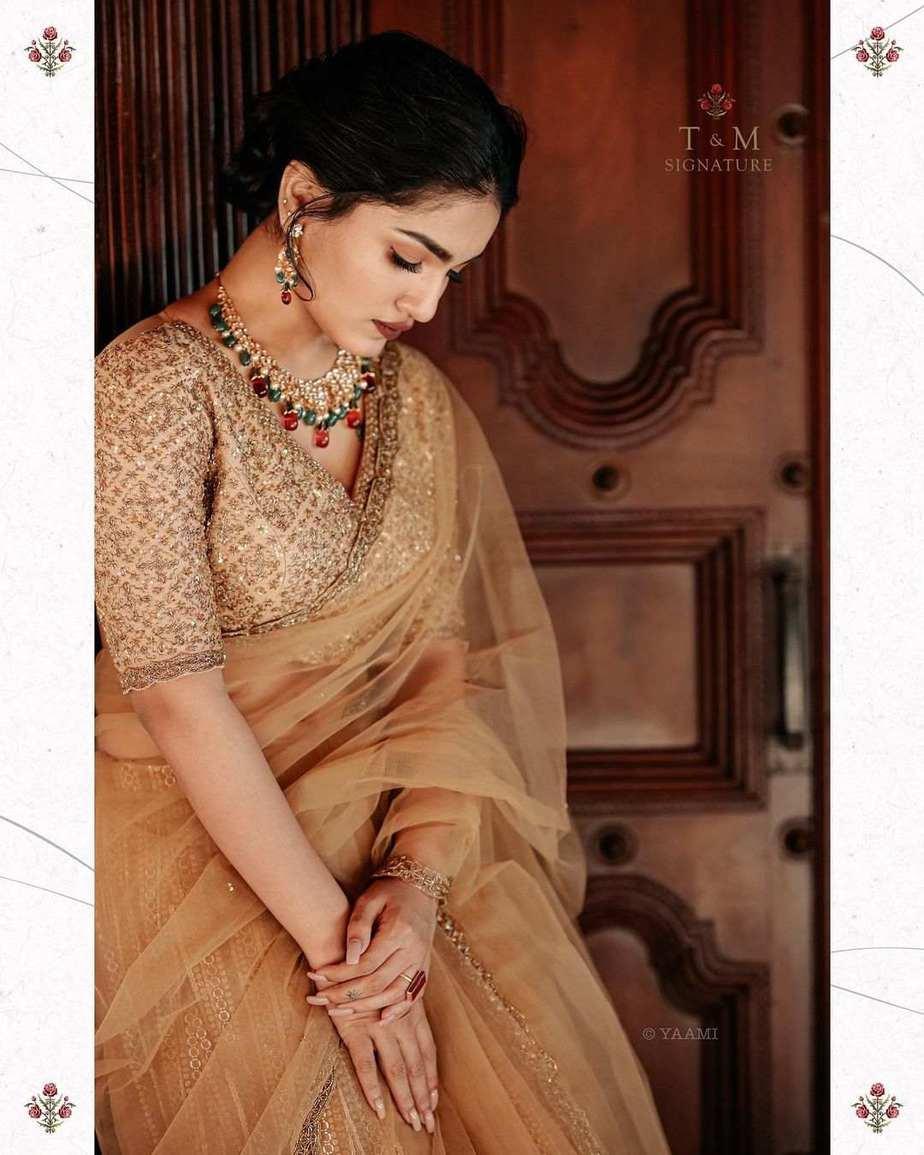Saniya Iyappanin champagne gold T&M signature saree-3