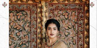 Saniya Iyappanin champagne gold T&M signature saree