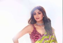 Shilpa Shetty in lime pink saree by akanksha gajria for super dancer 4-3
