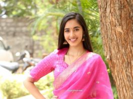 Simrat Kaur in pink half saree for Aadi new movie launch-3