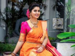 Sneha Prasanna in orange pattu saree for daughter's ayush homam ceremony-2