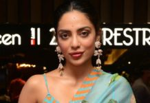 Sobhita Dhulipala in sky blue saree for Major teaser release event-3