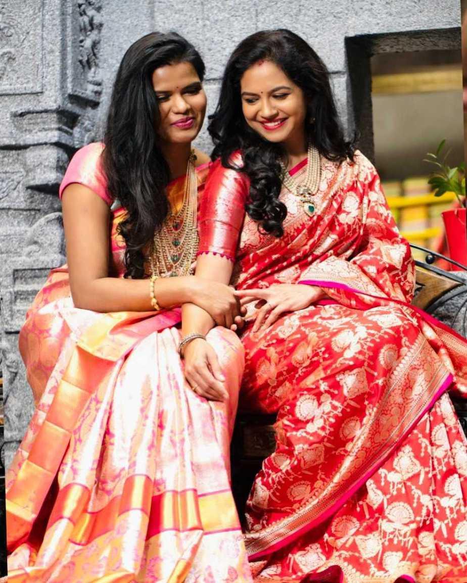 Sunitha Upadrasta in red saree by mugdha art studio for Ugadi