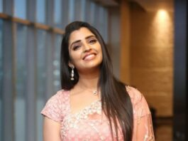 Syamala in peach lehnga by Royal designers for Ishq pre-release event