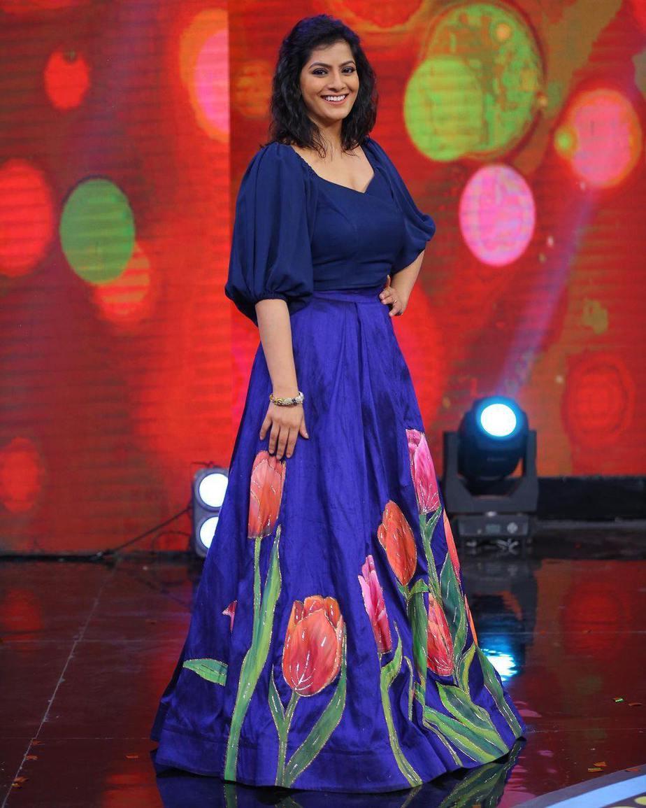 Varalaxmi Sarathkumar in blue lehenga by Malar Vikram bridal couture for an event in Hyderabad