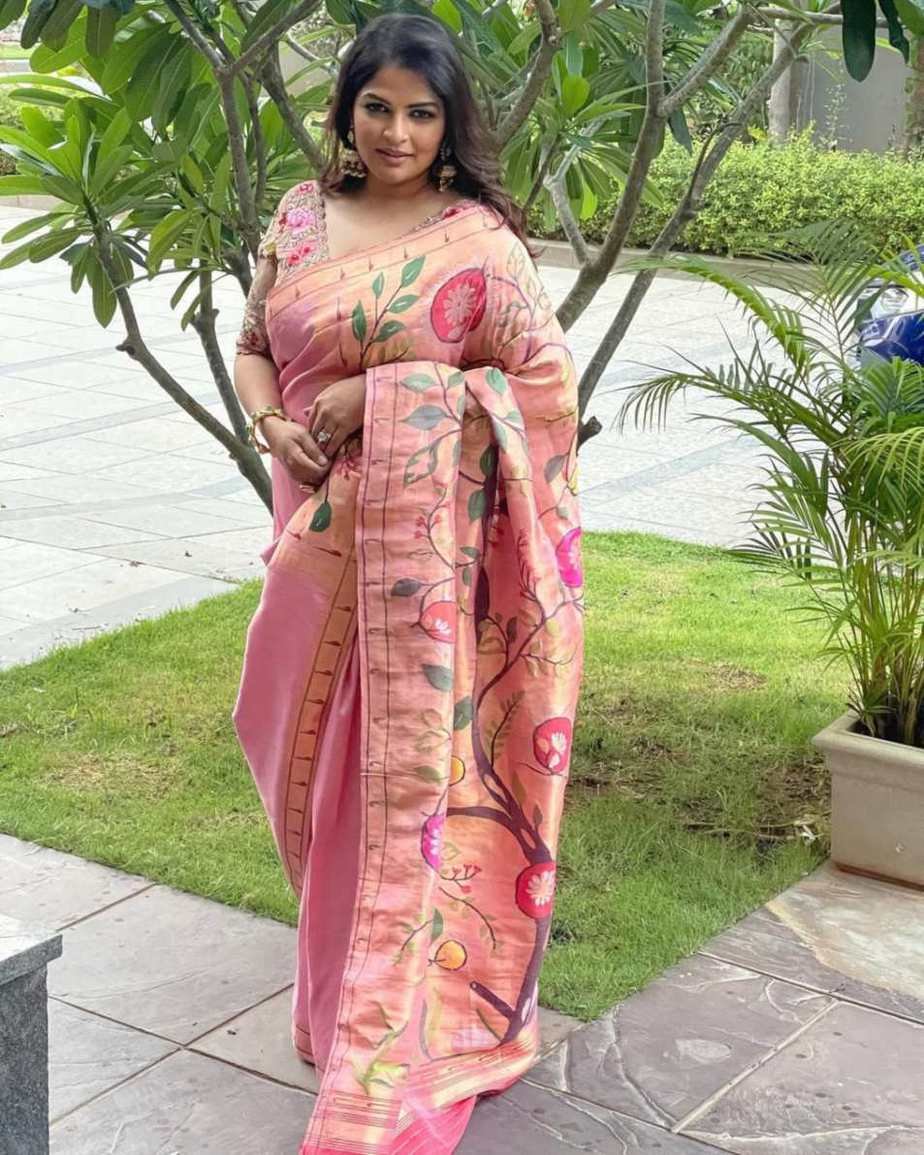 Viranica Manchu in pastel pink saree by Label Vida for a wedding
