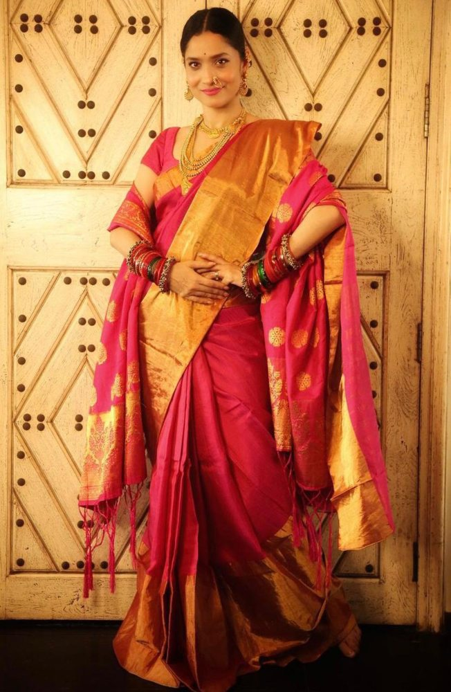 ankita lokhande in red saree for gudi padwa