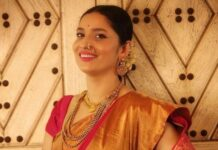 ankita lokhande in red saree for gudi padwa