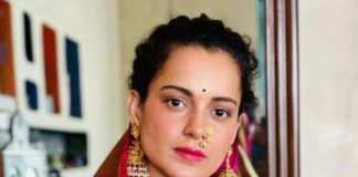 kangana ranaut in pink saree for gudi padwa