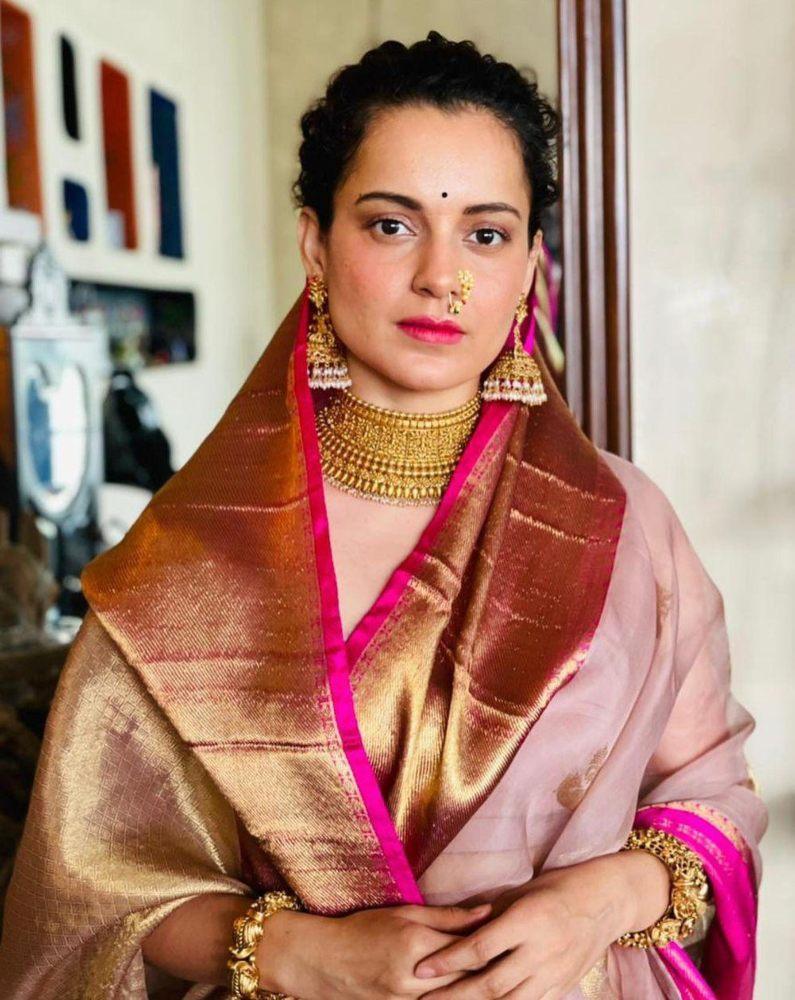 kangana ranaut in pink saree for gudi padwa