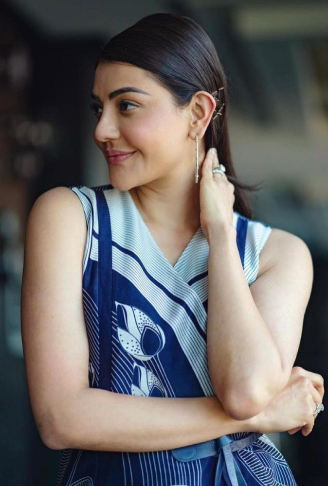 kajal aggarwal in blue dress from ampm fashions