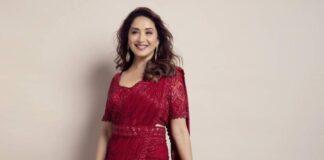 madhuri dixit in red saree dress from label ritika mirchandani