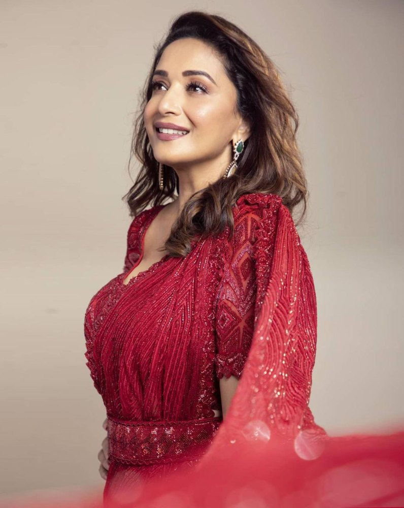 madhuri dixit in red saree dress from label ritika mirchandani