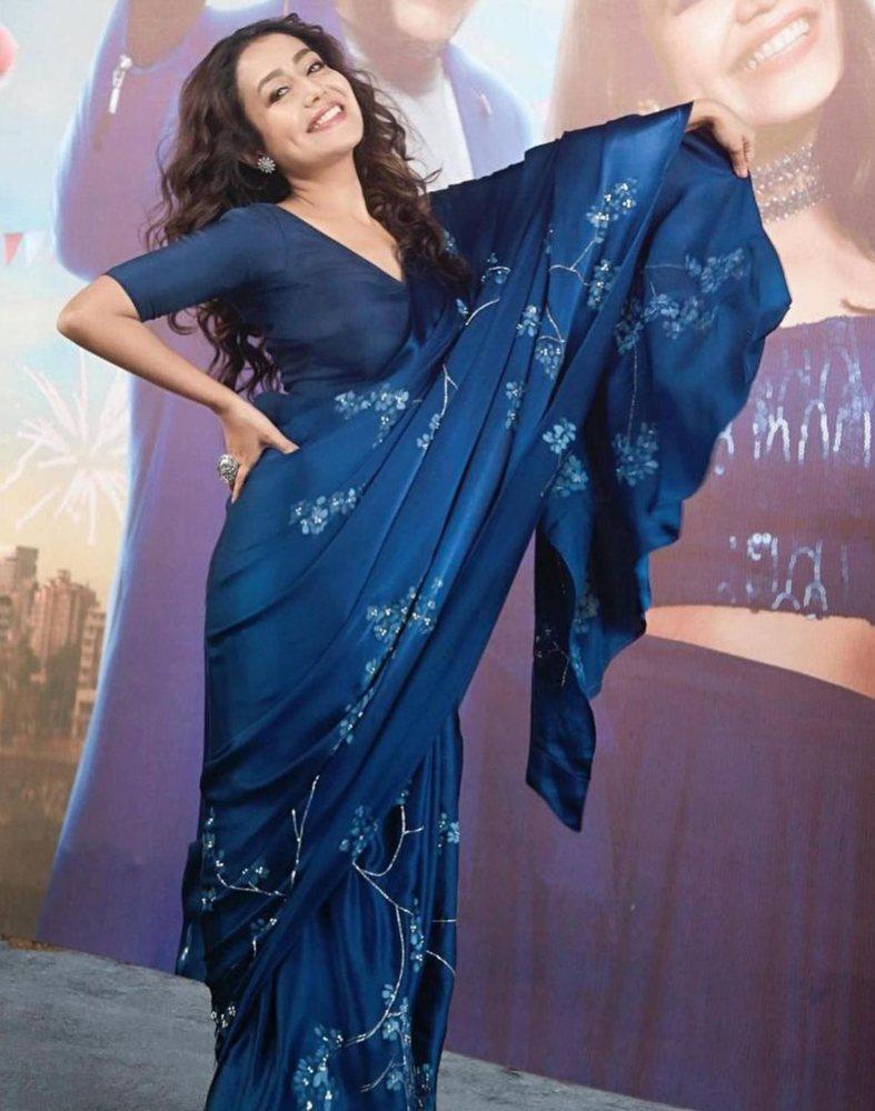 neha kakkar in silk satin saree by the label muksweta