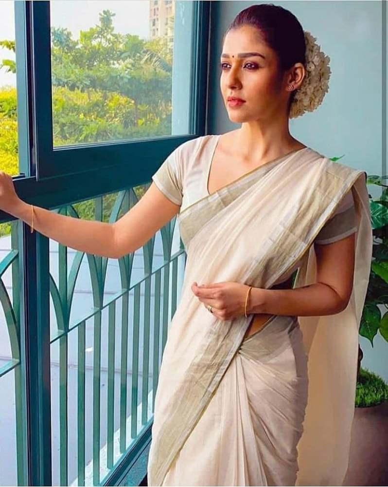 nayanthara in a white kerala saree
