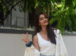 pooja hegde in white tee and minins