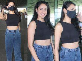 pragya jaiswal in crop top and jeans