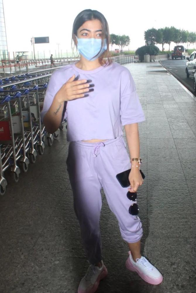 rashmika mandanna in lavender co-ord casuals