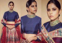sai tamhankar in lehenga from the label Idaho clothing