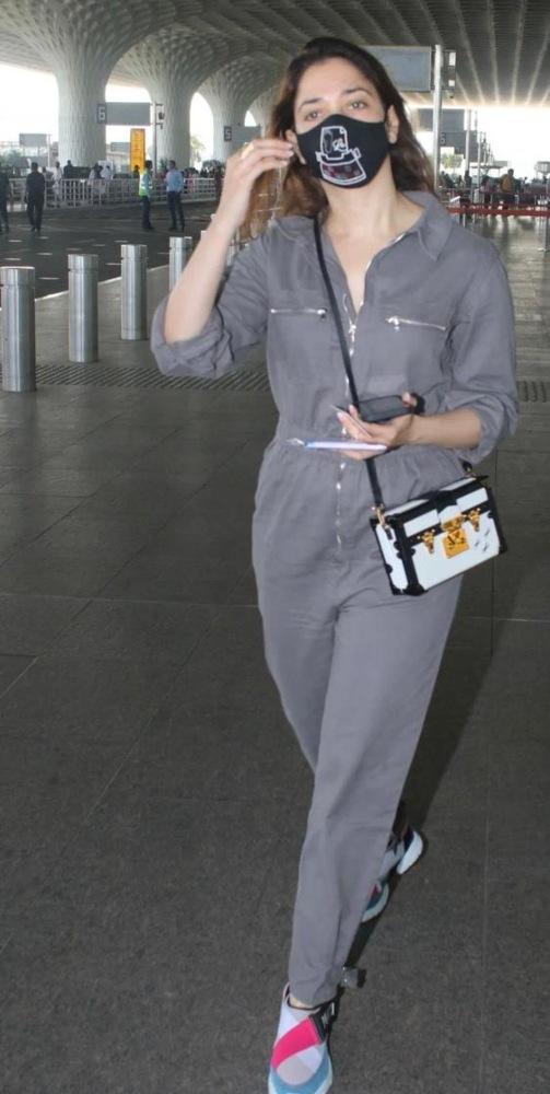 tamannah bhatia in grey jumpsuit at airport