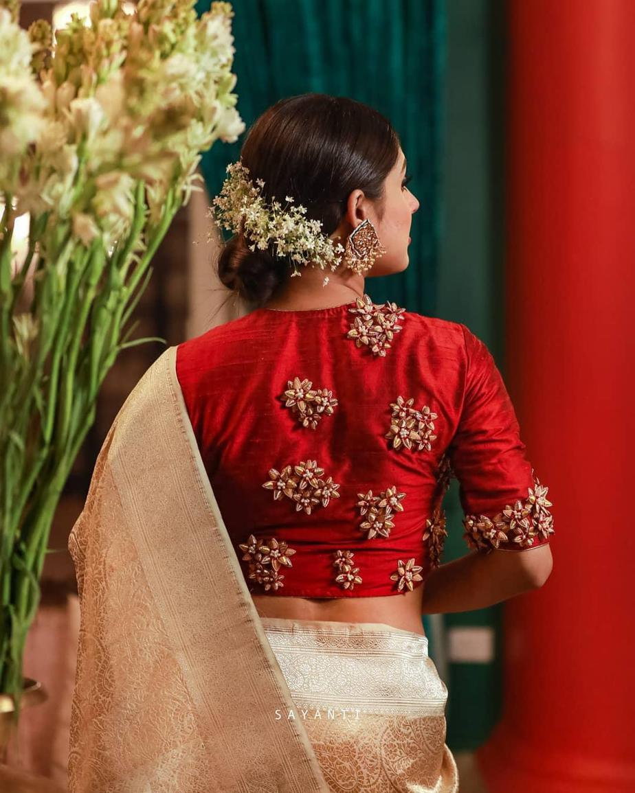 3d flower embroidered red blouse-Sayanti Ghosh-1