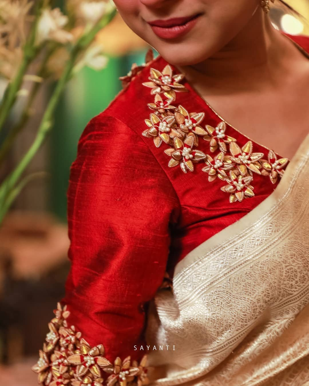 3d flower embroidered red blouse-Sayanti Ghosh