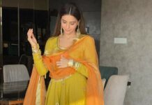 Aamna Sharif in a lime green anarkali by Drzya