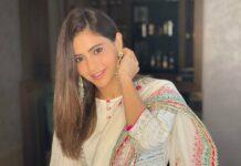 Aamna Sharif in off white Kaia ghagra set