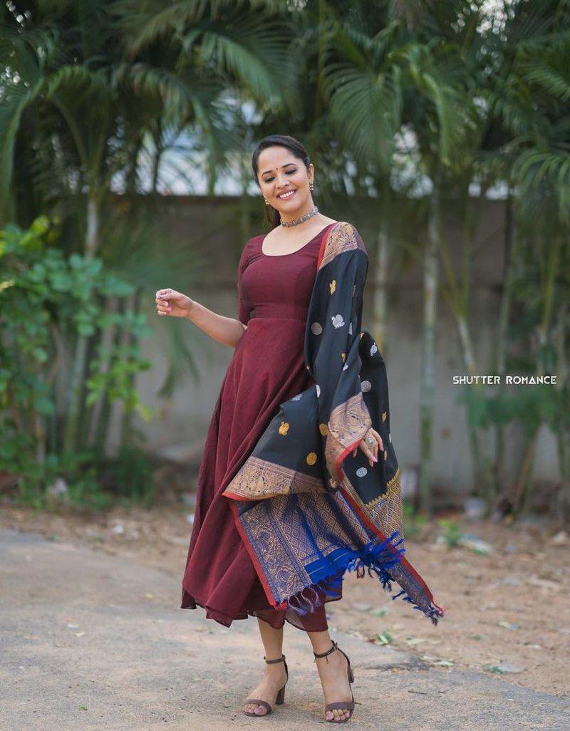 Anasuya Bharadwaj in a wine anarkali dress for thank you brother promotions-2