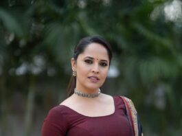 Anasuya Bharadwaj in a wine anarkali dress for thank you brother promotions-3