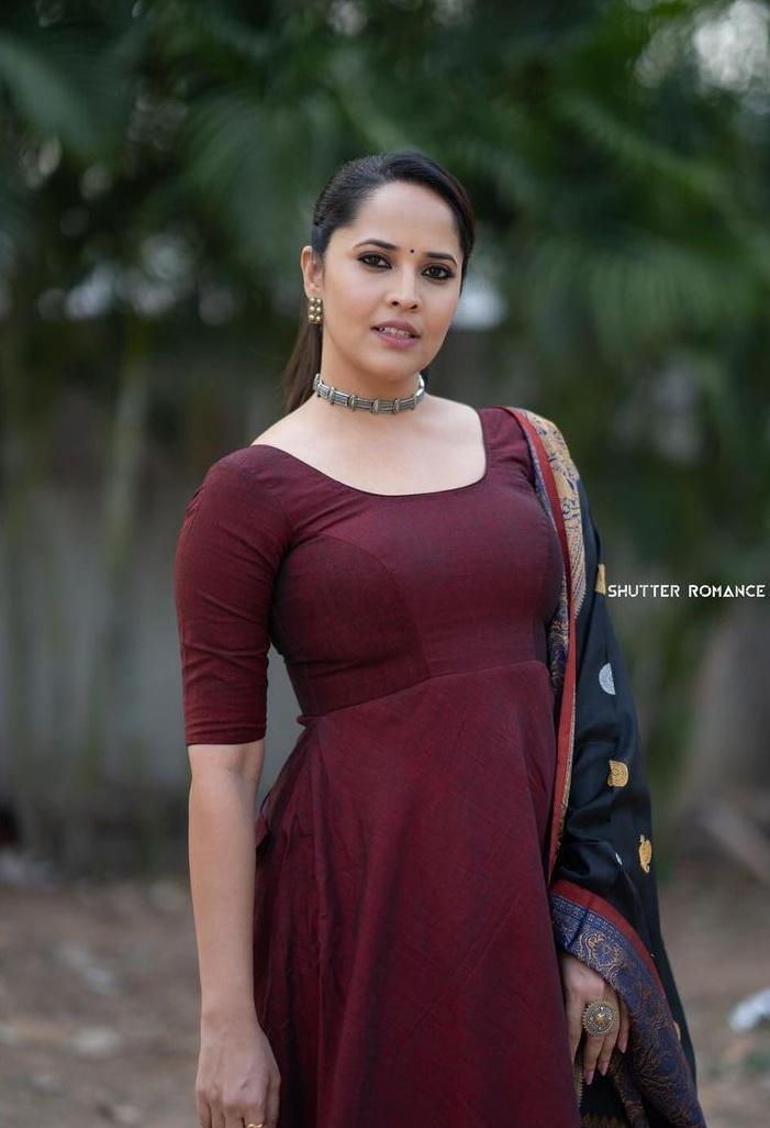 Anasuya Bharadwaj in a wine anarkali dress for thank you brother promotions-3