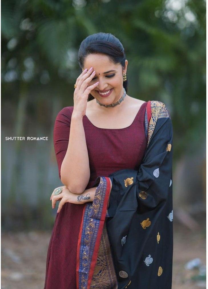 Anasuya Bharadwaj in a wine anarkali dress for thank you brother promotions-4