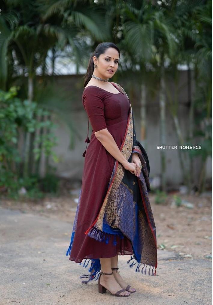 Anasuya Bharadwaj in a wine anarkali dress for thank you brother promotions-1