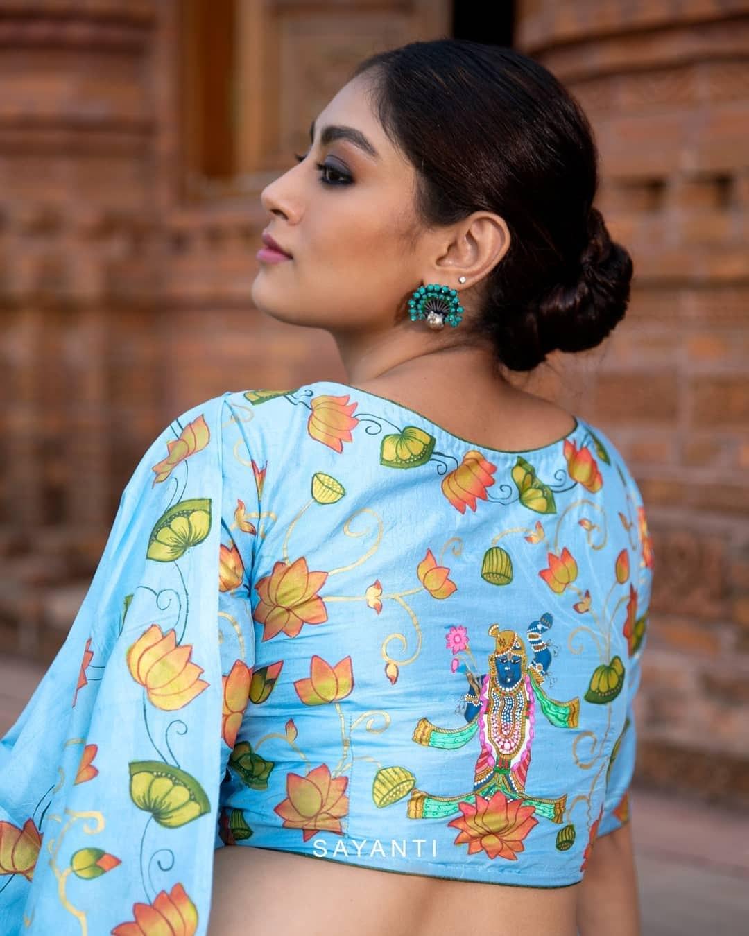 Aqua blue madhubani hand painted blouse-Sayanti ghosh