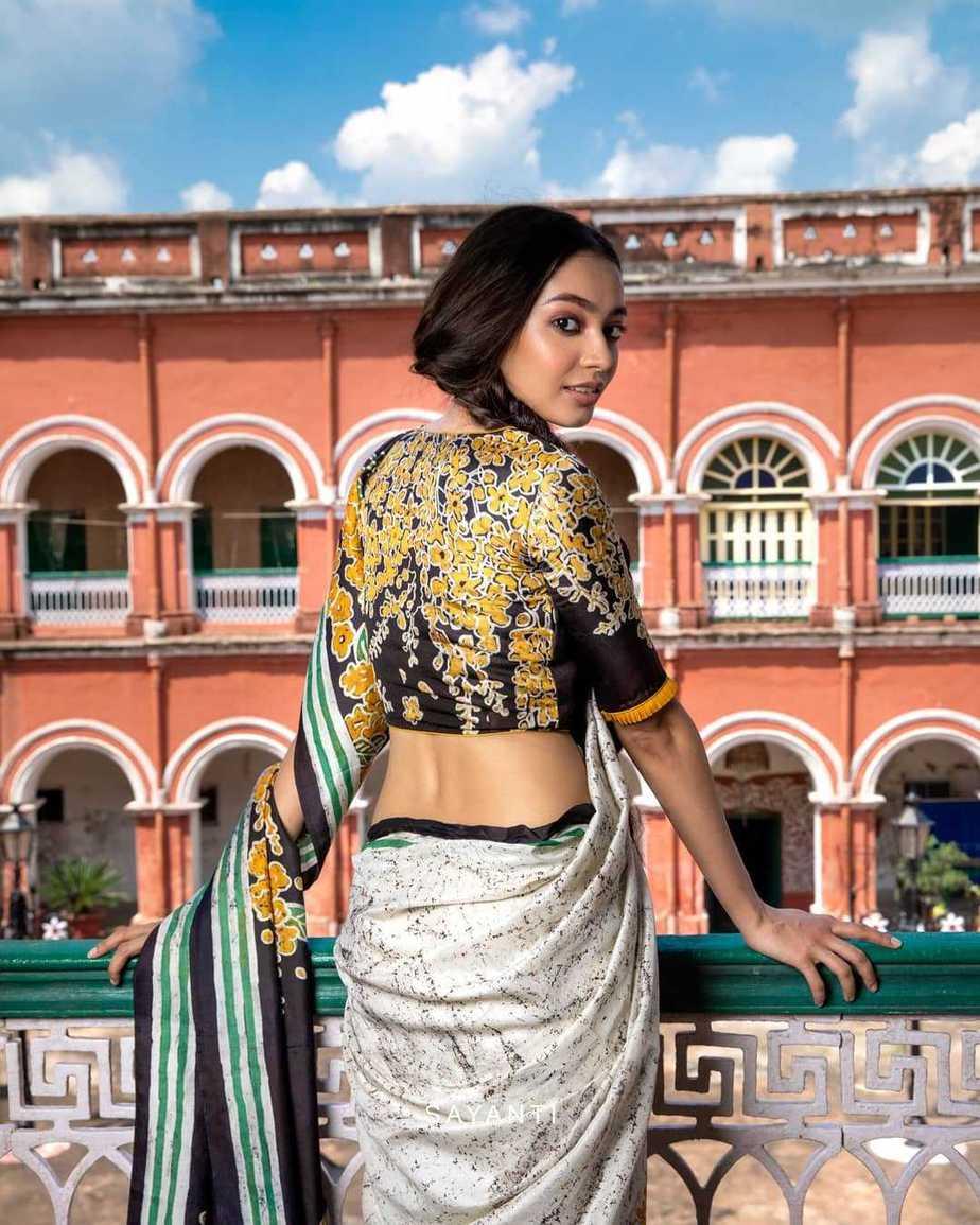 Batik apainted yellow floral blouse-Sayanti Ghosh-1