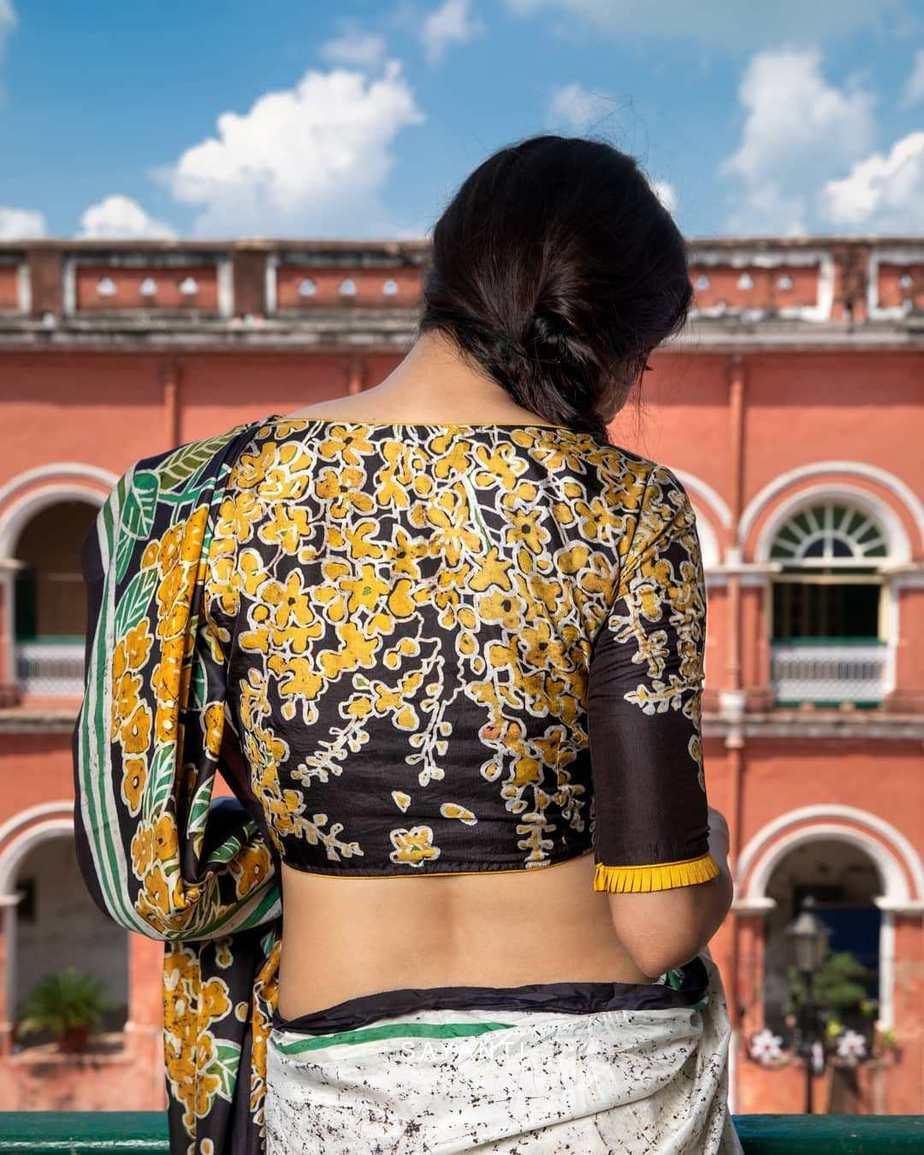 Batik apainted yellow floral blouse-Sayanti Ghosh