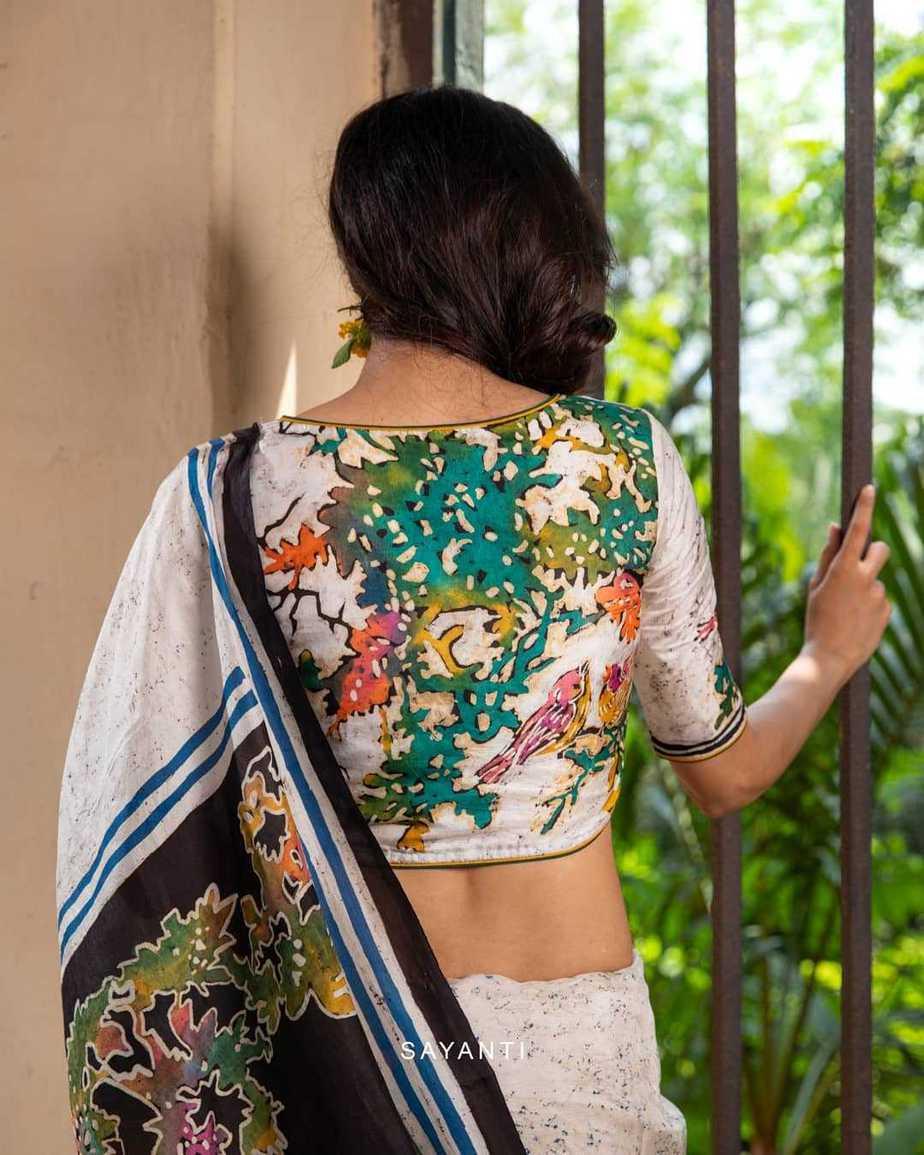 Batik handwoven multicolour blouse-Sayanti Ghosh