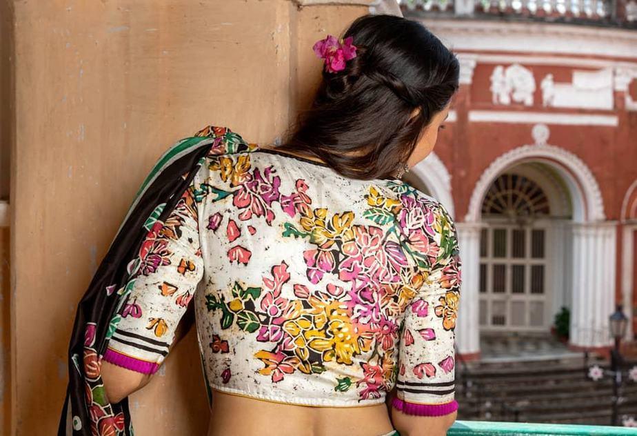 Batik painted boungainvillea blouse-Sayanti ghosh-1