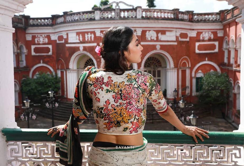Batik painted boungainvillea blouse-Sayanti ghosh