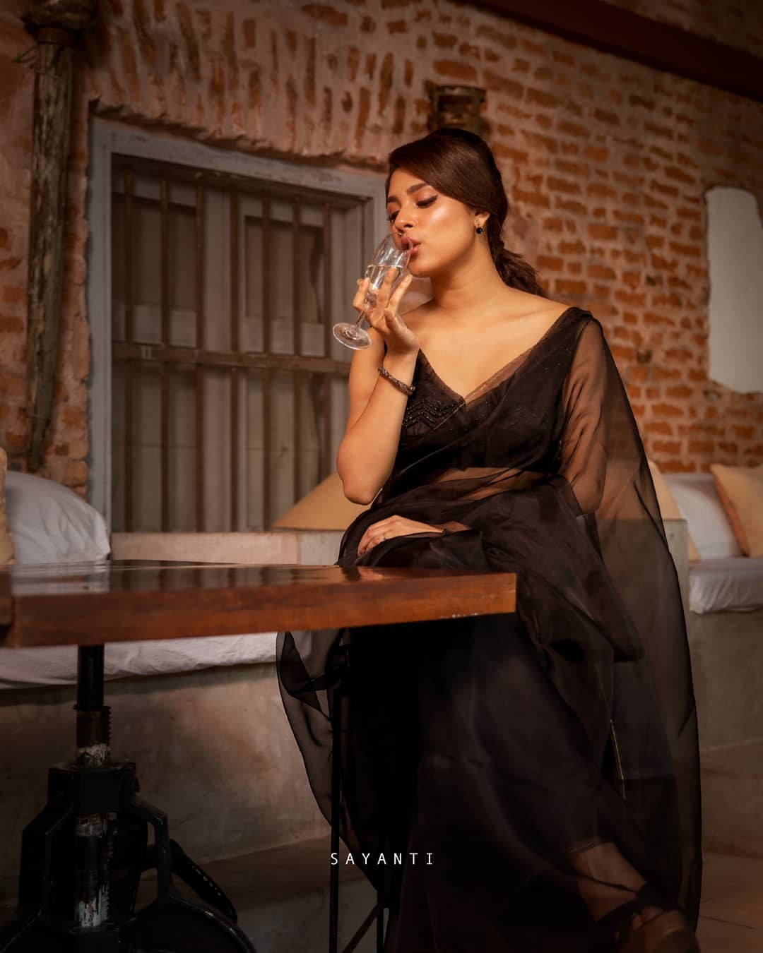 Black organza saree-Sayanti Ghosh-Party wear