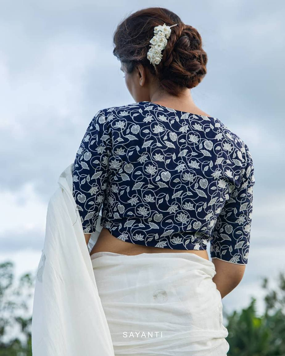 Blue blouse with white thread embroidery-Sayanti Ghosh-1
