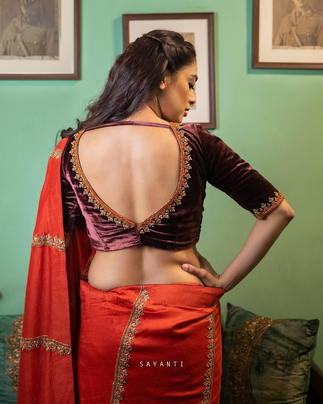 Brown velvet blouse-Sayanti ghosh-1